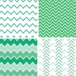 Set of four emerald green chevron patterns and backgrounds - Stock Vector