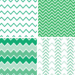 Set of four emerald green chevron patterns and backgrounds — Stock Vector