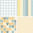 Set of four gray yellow chevron patterns and backgrounds — Wektor stockowy  #25817603