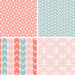 Set of four gray pink geometric patterns and backgrounds — Stockvektor