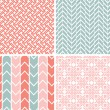 Stock Vector: Set of four gray pink geometric patterns and backgrounds