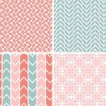 conjunto de cuatro patrones geométricos rosa gris y fondos — Vector de stock
