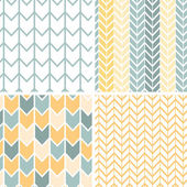 Set of four gray yellow chevron patterns and backgrounds — Stok Vektör