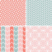 Set of four gray pink geometric patterns and backgrounds — Stock Vector
