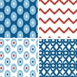 Set of blue and red ikat geometric seamless patterns backgrounds — Stock Vector