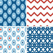 Set of blue and red ikat geometric seamless patterns backgrounds — Vettoriale Stock