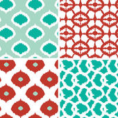 Set of green and red ikat geometric seamless patterns backgrounds — Stock Vector