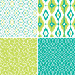 Set of green ikat diamond seamless patterns backgrounds — Stock Vector #26000179