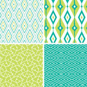 Set of green ikat diamond seamless patterns backgrounds — ストックベクタ