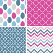 Set of blue and pink ikat geometric seamless patterns backgrounds — Stock Vector #26016807