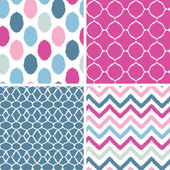 Set of blue and pink ikat geometric seamless patterns backgrounds — Stock Vector