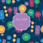 Glowing lanterns frame seamless pattern background — Stock Vector