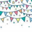 Colorful doodle bunting flags horizontal seamless pattern background — Stock Vector