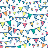 Colorful doodle bunting flags seamless pattern background — Stock Vector