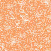 Orange and white lineart flowers seamless pattern background — Stock Vector