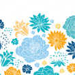 Blue and yellow flowersilhouettes horizontal seamless pattern background — Stock Vector