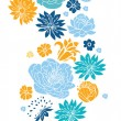 Blue and yellow flowersilhouettes vertical seamless pattern background — Stock Vector