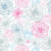 Gray and pink lineart florals seamless pattern background — Stock Vector