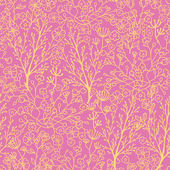Pink and gold florals seamless pattern background — Stock Vector