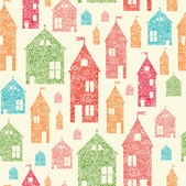 Flower town houses seamless pattern background — Stock Vector