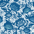 Blue and white garden plants silhouettes seamless pattern background — Stock Vector #27408383