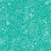 Emerald green floral lineart seamless pattern background — Stock Vector