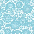 Lovely blue florals silhouettes seamless pattern background — Stock Vector