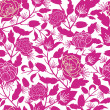 Magenta floral silhouettes seamless pattern background — Stock Vector