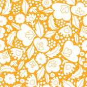 Gold and white floral silhouettes seamless pattern background — Stock Vector