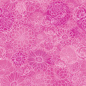 Pink lineart floral texture seamless pattern background — Stock Vector