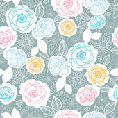 Silver and colors florals seamless pattern background — Stock Vector