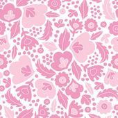 Fondo del patrón siluetas florales rosa suaves sin costuras — Vector de stock