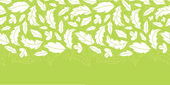 White on green leaves silhouettes horizontal seamless pattern background — Stock Vector