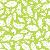 White on green leaves silhouettes seamless pattern background — Stock Vector