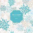 Blue and gray plants frame seamless pattern background — Stockvektor