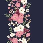 Night garden sakura blossoms vertical seamless pattern background — Stock Vector