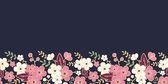 夜花园樱花盛开水平无缝图案背景 — 图库矢量图片