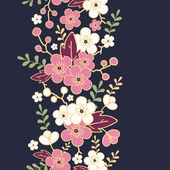 Night garden sakura blossoms vertical seamless pattern background — Stok Vektör
