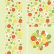 Eggs and salad set of seamless pattern and borders. — Stock Vector