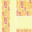 Set of wheat plants seamless pattern and borders backgrounds — Stock Vector
