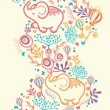 Elephants With Flowers Vertical Seamless Pattern Background Border — Stock Vector