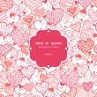 Romantic doodle hearts frame seamless pattern background — Imagen vectorial