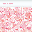 Romantic doodle hearts horizontal torn seamless pattern background — Stock Vector