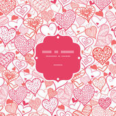 ρομαντικό doodle καρδιές φόντο χωρίς ραφή πρότυπο πλαισίου — Διανυσματικό Αρχείο