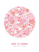 Romantic doodle hearts circle decor pattern background — Stock Vector
