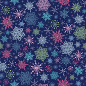 Snowflakes On Night Sky Seamless Pattern Background — Stock Vector