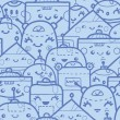 Cute doodle robots seamless pattern background — Stock Vector