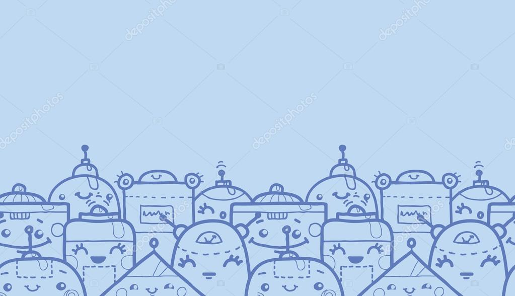 Cute Robot Doodles Vector Cute Doodle Robots Horizontal Seamless Pattern Background Border With