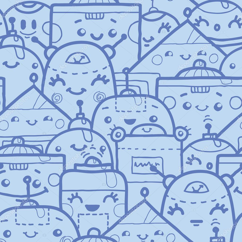 Cute doodle robots seamless pattern background — Stock ...