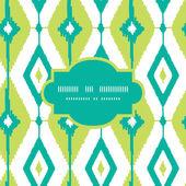 Emerald green ikat diamonds frame seamless patterns backgrounds — Stock Vector